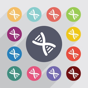 Dna, conjunto de ícones lisos. botões coloridos redondos. vetor