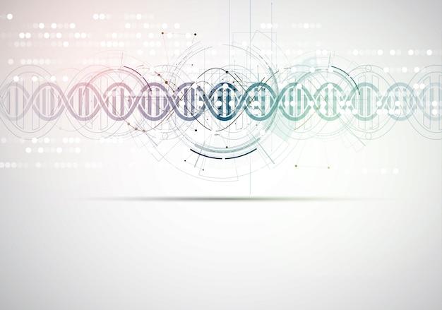 Dna e fundo médico e tecnologia. apresentação futurista da estrutura da molécula