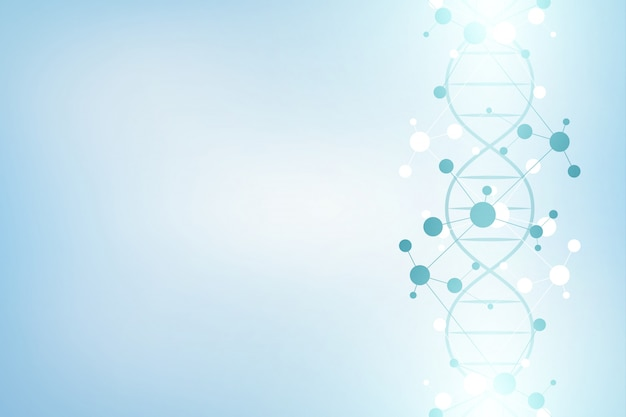 Dna strand e estrutura molecular. engenharia genética ou pesquisa de laboratório