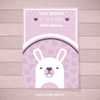 Do chá de fraldas roxo com corações e coelho bonito