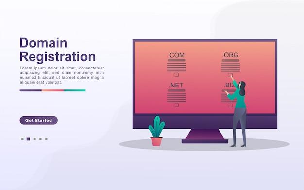 Do conceito de registro de domínio, o conceito de registrar um domínio de site usando um computador.