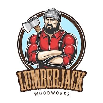 Do emblema de lenhador, etiqueta, distintivo, logotipo com texto. isolado no fundo branco.