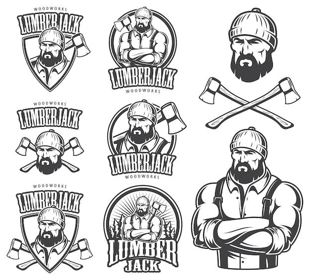 Do emblema do lenhador, etiqueta, distintivo, logotipo e elementos desenhados. isolado no fundo branco.