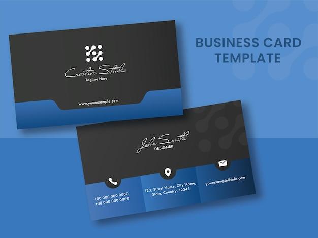 Do molde do cartão de visita na cor azul e preta.