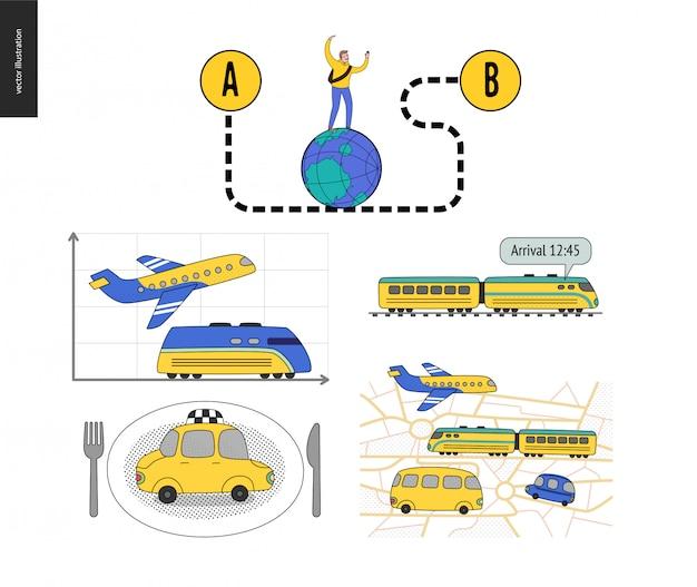 Do ponto a ao ponto b, conjunto de transporte