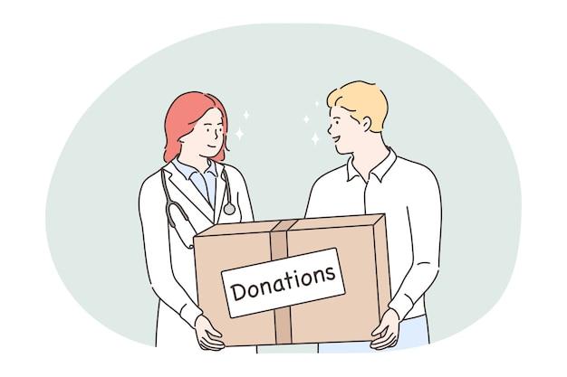 Doação, caridade, conceito de ajuda humanitária. médico jovem e homem voluntários personagens de desenhos animados em pé e segurando uma caixa grande com doações nas mãos. voluntariado, suporte, assistência