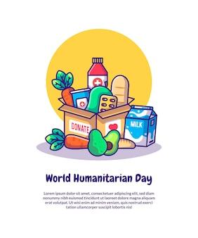 Doação de alimentos e médicos para ilustrações vetoriais dos desenhos animados do dia mundial humanitário. conceito de ícone do dia mundial da humanidade isolado vetor premium