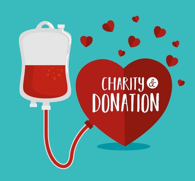 Doação de caridade no coração