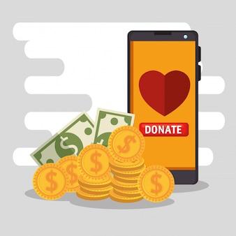 Doação de caridade online com smartphone