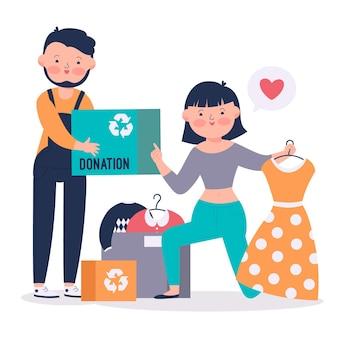 Doação de roupas com ilustração desenhada à mão