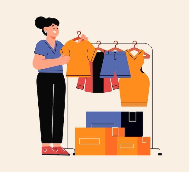 Doação de roupas de design plano