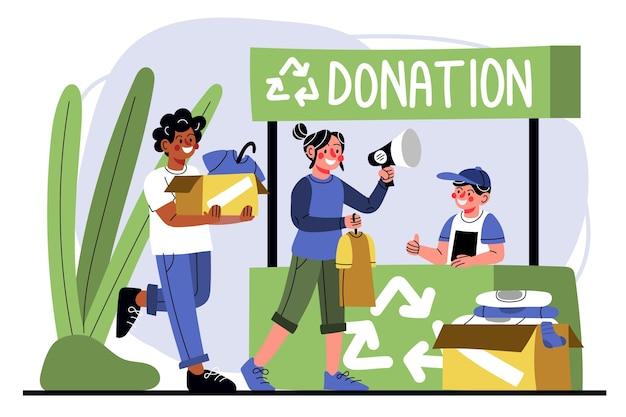 Doação de roupas para ilustração plana