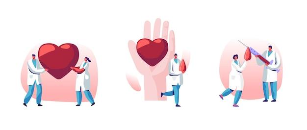 Doação de sangue, conjunto de transplante de coração. ilustração plana dos desenhos animados