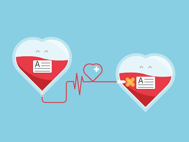 Doação de sangue, dando sangue de coração para coração