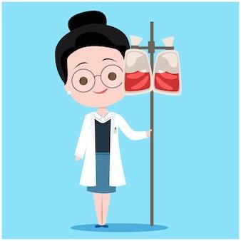 Doação de sangue feminino médico