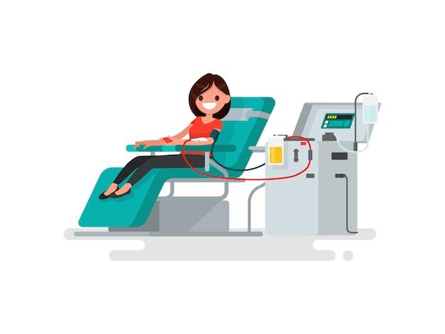 Doação de sangue. mulher doa ilustração de sangue
