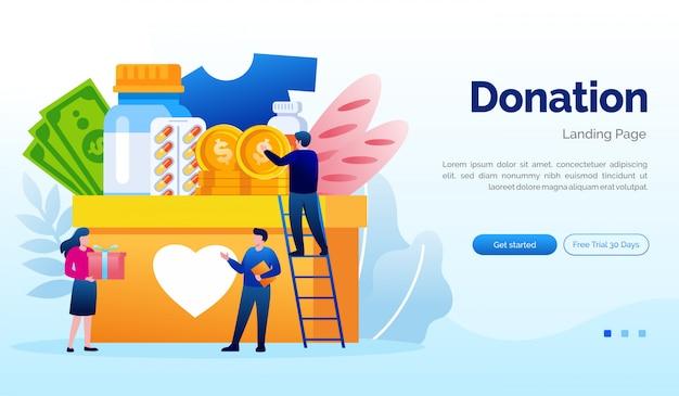 Doação e caridade landing page website ilustração modelo plano