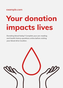 Doação impacta vidas modelo vetor saúde cartaz de anúncio de caridade
