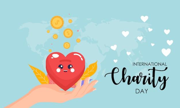 Doação no dia internacional da ilustração de caridade