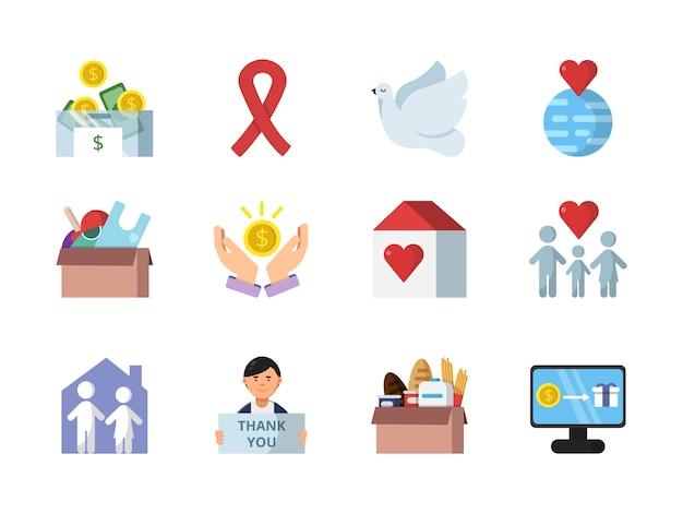 Doação, presentes e outros diferentes símbolos de instituições de caridade