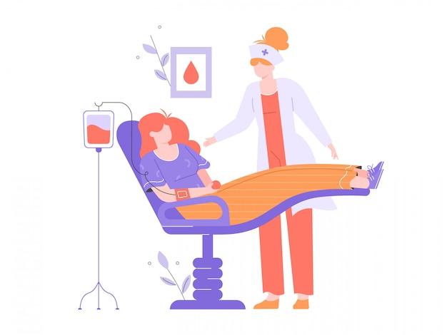 Doador de sangue voluntário de mulher. transfusão de sangue, exames médicos, assistência médica, dia mundial dos doadores de sangue. o paciente está deitado em uma cadeira no hospital, em torno de uma enfermeira e um gotejamento. ilustração plana.