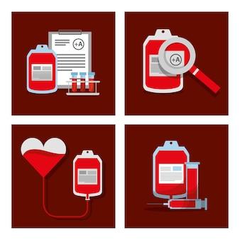 Doar equipamentos de sangue fornecem conjuntos de objetos médicos