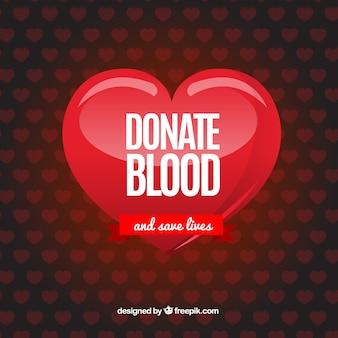Doar fundo de sangue com padrão de coração