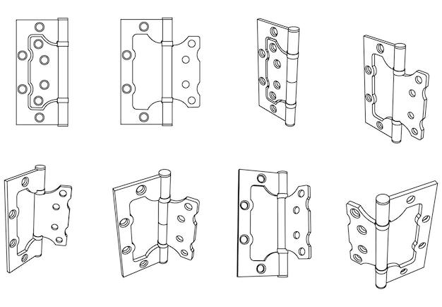 Dobradiça de porta borboleta de aço vetorial