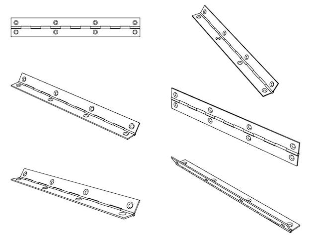 Dobradiça de porta contínua de piano isométrico vetorial