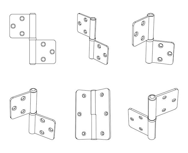 Dobradiça de porta dupla de aço vetorial
