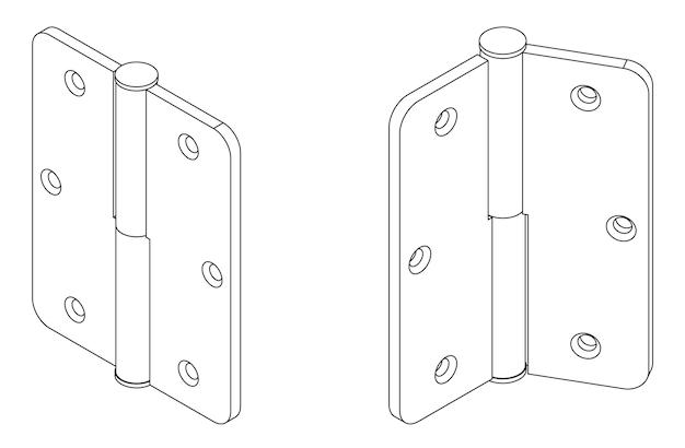 Dobradiça de porta isométrica simples de vetor