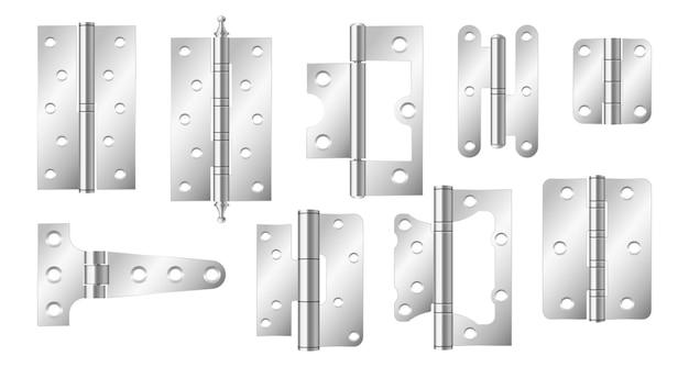 Dobradiças de porta de metal, ferragens de construção prata isoladas no fundo branco. conjunto realista de ferramentas de ferro para portas e janelas conjuntas. dobradiças de aço 3d para casa e móveis. ilustração vetorial 3d