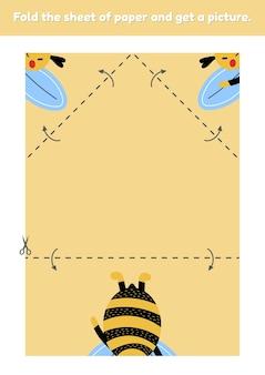 Dobre a folha de papel e obtenha uma imagem de uma abelha fofa. jogo de educação para crianças. planilha para jardim de infância e idade pré-escolar. desenvolvimento de habilidades motoras finas. ilustração vetorial.