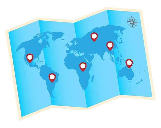 Dobre o mapa do mundo com o ícone vermelho gps