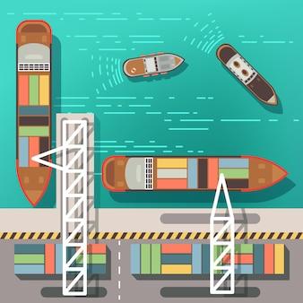 Doca do mar ou porto de carga com navios flutuantes e barcos.