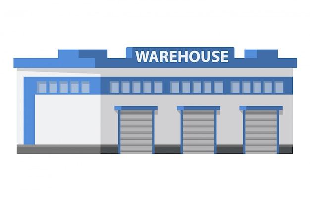 Docas de carregamento de edifícios comerciais de armazém. logística do centro de armazenamento. fundo isolado do branco do objeto.