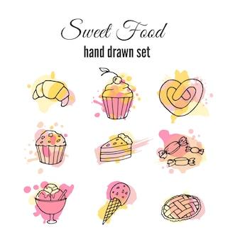 Doce, alimento, mão, desenhado, jogo