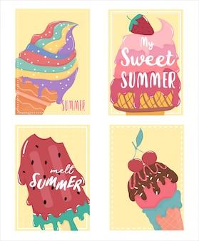 Doce bonito cartão de verão derretido sorvete definido com texto