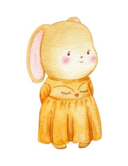 Doce coelhinha com um vestido com cara de raposa. bonito pequeno bebê lebre personagem. ilustração de crianças isolada