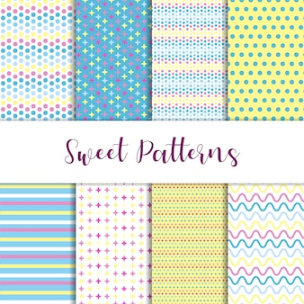 Doce conjunto de padrões em azul e amarelo