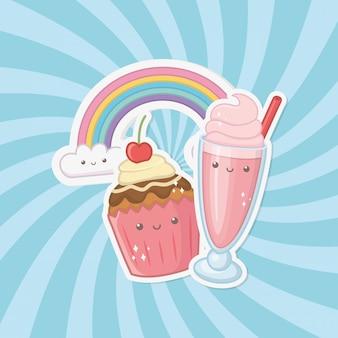 Doce cupcake e doces personagens kawaii