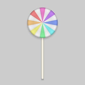 Doce de arco-íris lolipop em branco