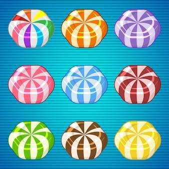 Doce de pirulito de hexágono colorido para combinar 3 jogo estilo bonito.