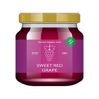 Doce de uva. frasco de vidro com geléia e configure. coleção de embalagens. etiqueta para atolamento. banco realista.