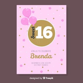 Doce dezesseis convites de aniversário