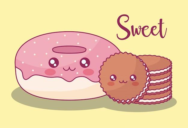 Doce donuts e cookies kawaii caracteres