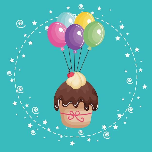 Doce e delicioso cupcake com balões de cartão de aniversário de ar
