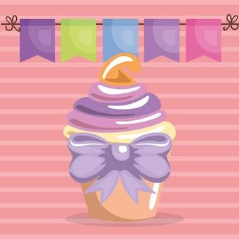 Doce e delicioso cupcake com cartão de aniversário bowtie