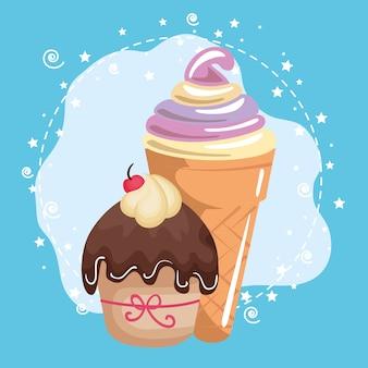 Doce e delicioso cupcake com cartão de aniversário de sorvete