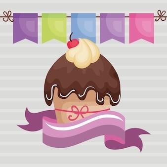 Doce e delicioso cupcake com fita cartão de aniversário